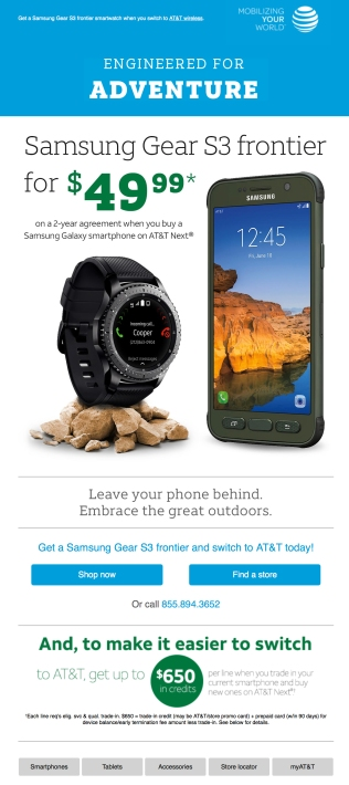 An email from February 2017 - promoting the Samsung Gear S3 frontier smartwatch